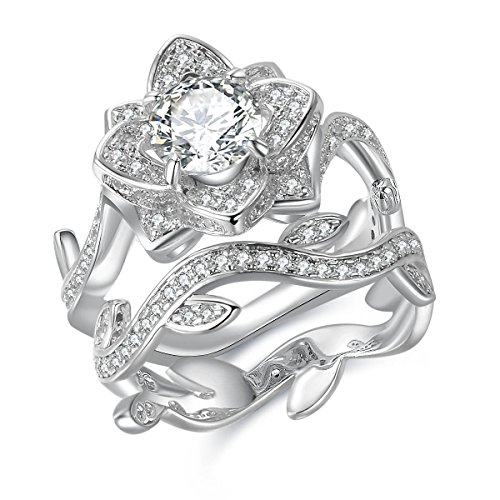 Sterling Silver Flower Vine - Newshe Jewellery Flower Wedding Band Engagement Ring Set for Women 925 Sterling Silver Round White Cz