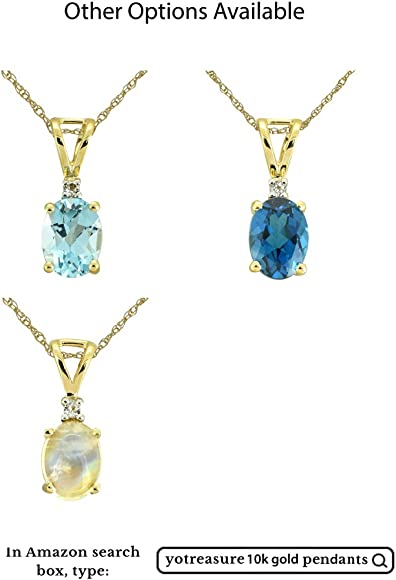 Sky Blue Topaz Solid 10K Yellow Gold Chain Pendant Necklace YoTreasure 1.20 Ct