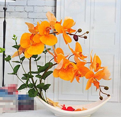 situmi人工フェイク花Orchidキットホームリビングルーム装飾用オレンジ B075L34PMH