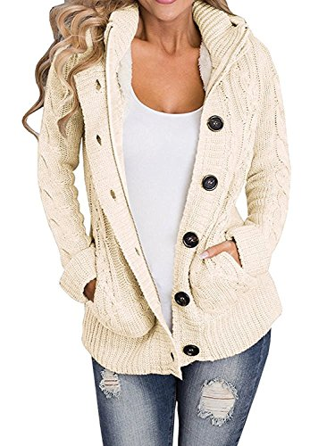 Enjoybuy Womens Cardigan Sweater Hooded Open Front Cable Knit Buttons Closure Outerwear by (Medium, Beige)