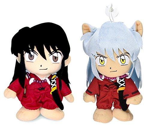 GE Animation Set of 2 Inuyasha Human Form & Normal State Stuffed Plush