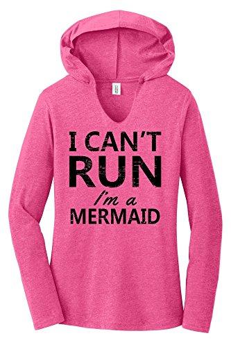 Comical Shirt Ladies I Can't Run I'm A Mermaid Funny Mermaid Tee Fuchsia Frost L