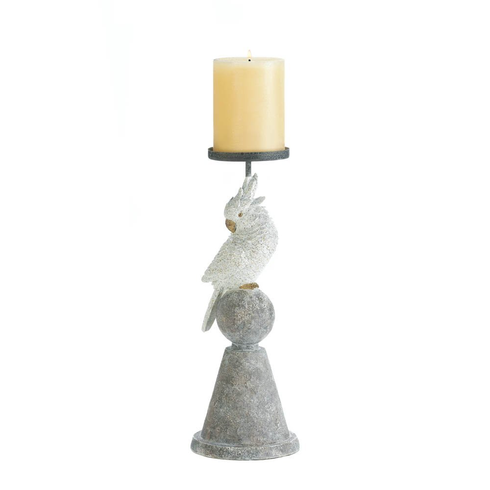 Accent Plus Pillar Candle Holders, Unique Modern Decorative Pillar Candle Holder White Grey (Sold by Case, Pack of 9)