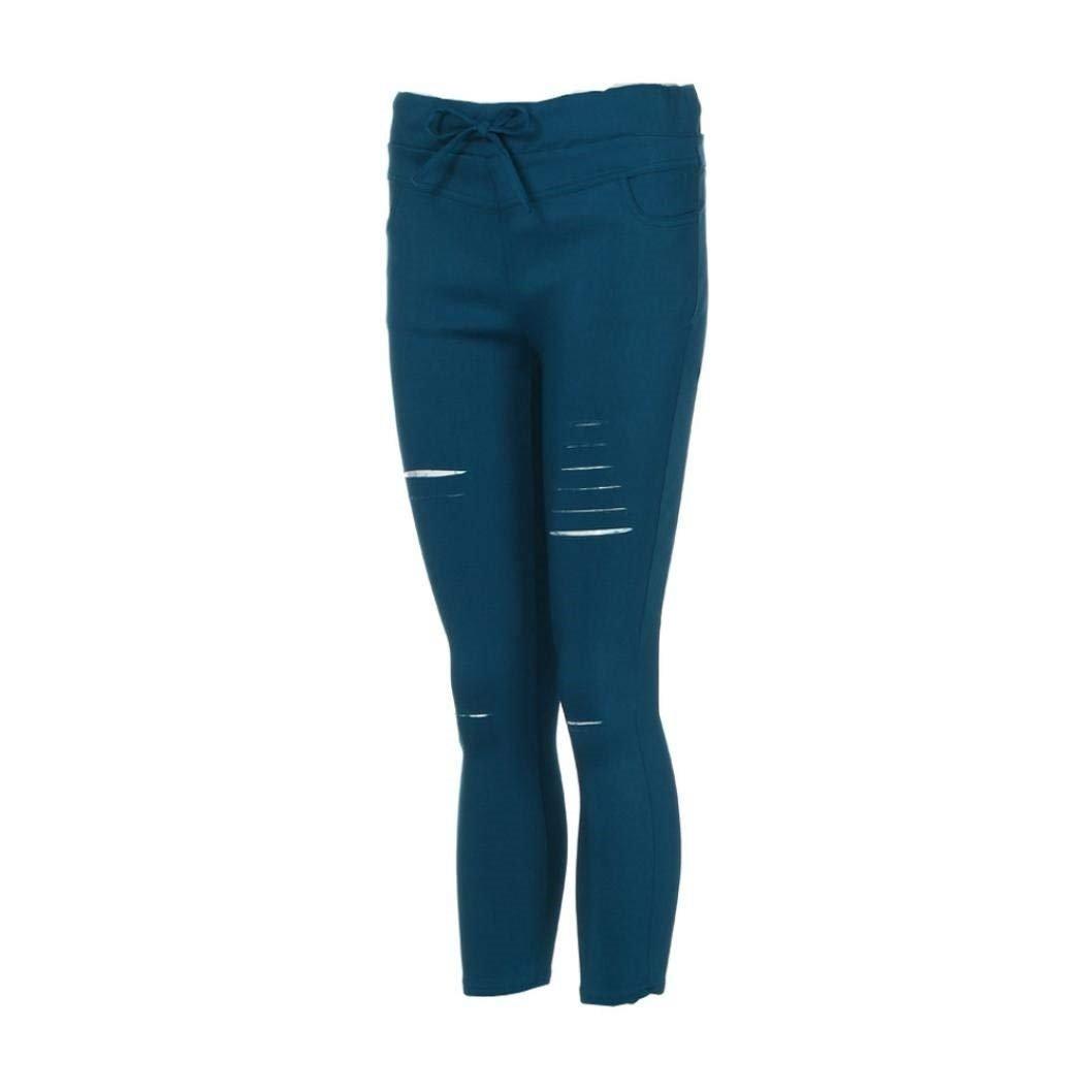 edad72cf3ef6b1 Pantalon 7/8 Femme Printemps Automne Déchiré Pantalon Elégante Mode Uni  Manche Style de fête Pantalon Chino ...