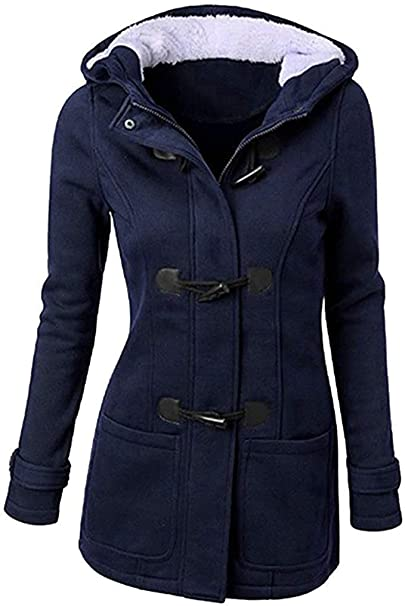 Angel ZYJ Cappotto con Cappuccio Donna Invernale Autunno Elegante Lungo Giacca Cotone Hoodies Classico Felpa Pulsante Corno Outwear