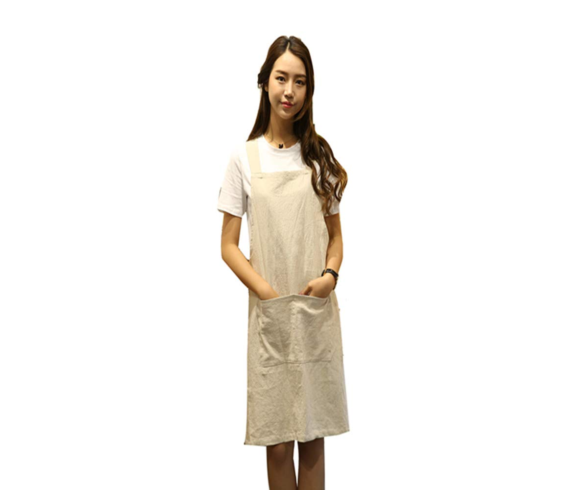 KKTech Chef Apron with Front Pockets, Japanese Style Apron, Unisex Bib Kitchen Apron, Soft Cotton Linen Apron, Perfect for DIY Project, Crafting, Cooking, Baking, BBQ (Strap H Style-, Blue) RS