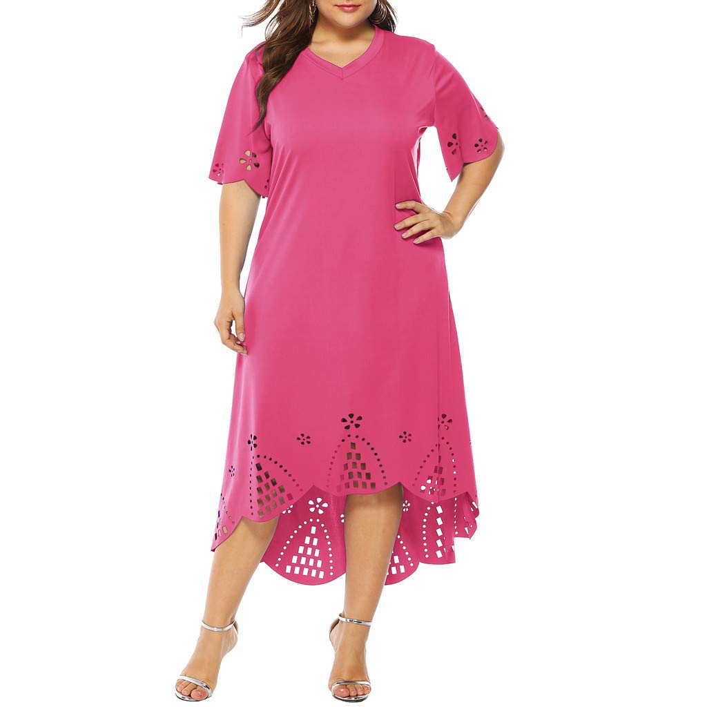 Beyonds Women's V Neck Summer Casual Plus Size Fit and Flare Slim Midi Dress Red