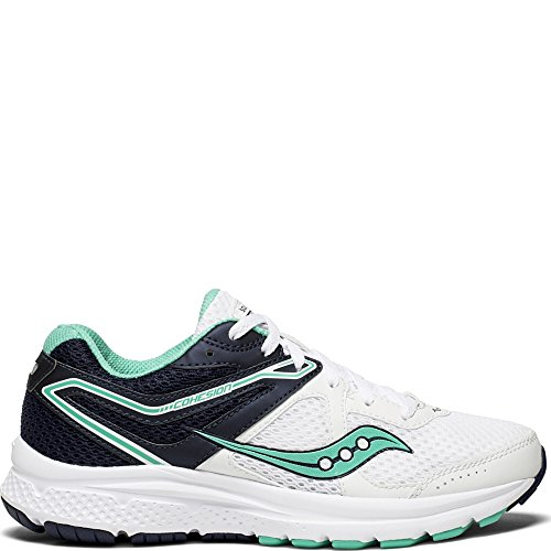 Saucony Women's Cohesion 11 Running Shoe, White/Teal, 8 Wide - Saucony White Shoes