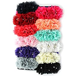 My Lello Infant Baby Flower Headbands Chiffon Fabric Beaded Trio Variety Pack 12pcs