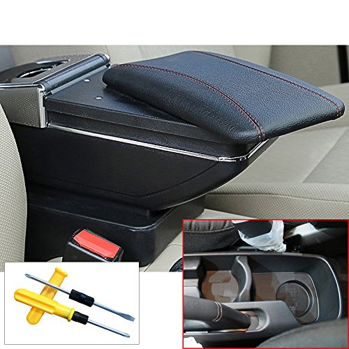 (MyGone for 2011-2016 KIA K2 Rio Car Interior Accessories Center Console Armrest Box,Large Storage Space,Provide arm Rest Place,Removable Ashtray, with Cup Holder,Black(a Free Tool) )