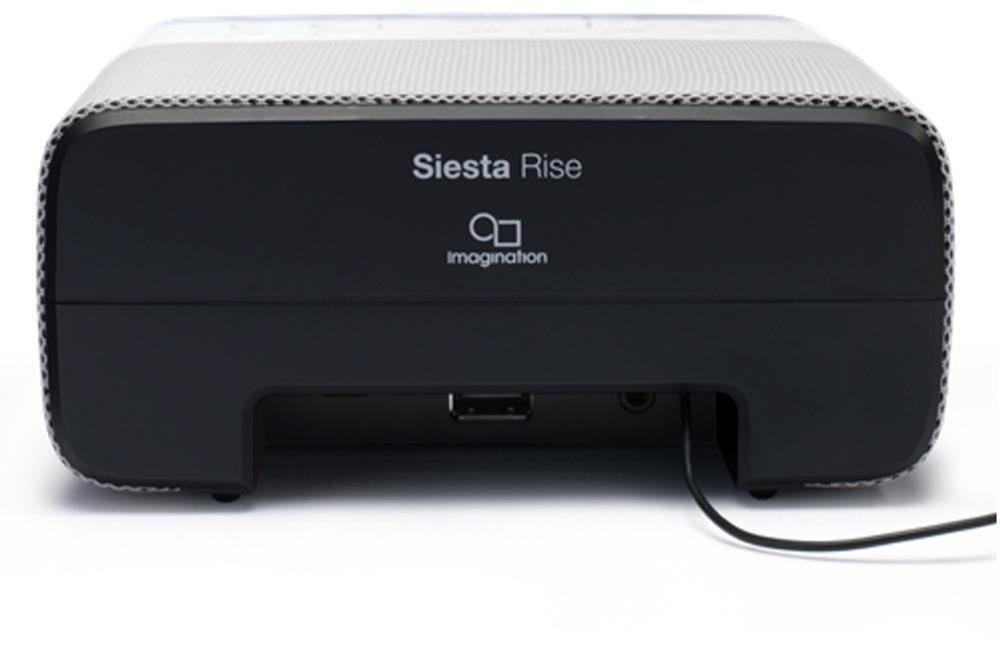 Pure Siesta Rise DAB+//DAB//FM Digital Radio Alarm Clock Black and White CrystalVue Auto-Dim Display 3 Radio or Tone Alarms and 20 Station Pre-Sets Bedside Clock DAB Radio with USB Phone Charging