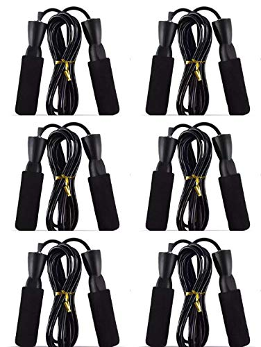 Fangstar Jump Ropes Speed Skipping Ropes with Soft Memory Foam Handle and Tangle-Free Adjustable Rope & Rapid Ball Bearings for Fitness Workouts Fat Burning Exercises 6 Pack