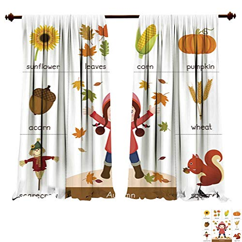 DragonBuildingMaterials Panels Sun Blocking Curtains Printable Flash Card for Autumn and Girl Playing with Autumn Leaves Window Treatments for Kitchen ()