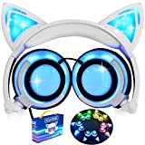 [Upgraded Version] Cat Ear Kids Headphones LED Light 85dB Volume Limited iGeeKid Foldable Over/On Ear Headsets Girls Boys Phone Tablet School Travel Outdoor Children Musical Device Blue