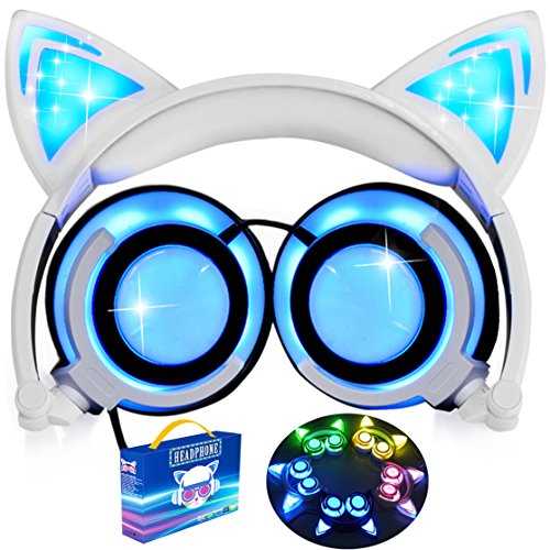 [Upgraded Version] Cat Ear Kids Headphones LED Light 85dB Volume Limited iGeeKid Foldable Over/On Ear Headsets Girls Boys Phone Tablet School Travel Outdoor Children Musical Device Blue by iGeeKid