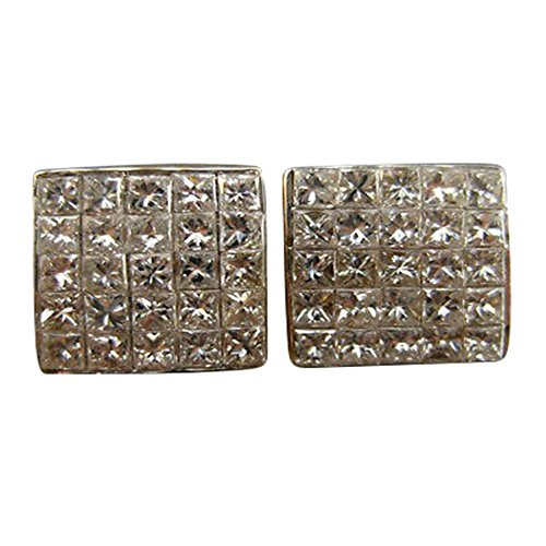 1.0CT DIAMOND 14KT TWO TONE GOLD 3D INVISIBLE SQUARE STUD EARRINGS #17956 14kt 2 Tone Diamond Earrings