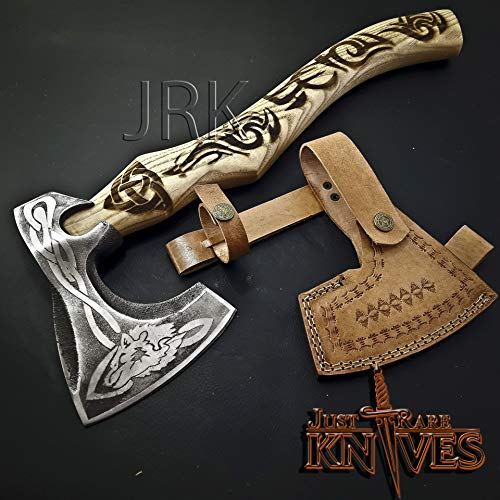 """JUSTRAREKNIVES USA Special Edition: Wow! 17"""" Viking Tomahawk Custom Made HIGH Carbon Steel Head, Engraved Handle Axe (JRK70)"""
