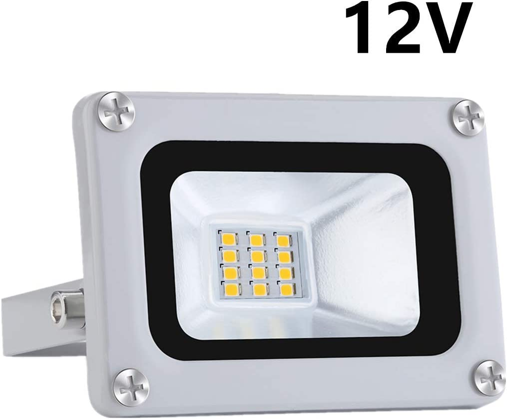 10W LED Floodlight IP65 Impermeable 12V Baja presión Exterior Luz de seguridad 1000LM 6500K blanco frio Proyectores LED Iluminación para Garden Yard Garage Parking Playground [Clase de energía A +]
