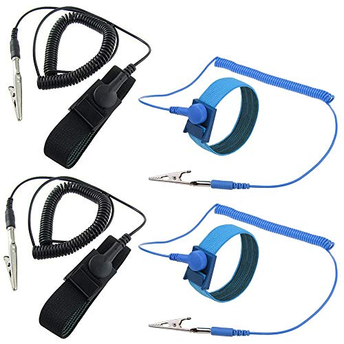 ESD Anti-Static Wrist Strap Components, SourceTon 4 Packs Anti-Static Wrist Straps Equipped with Grounding Wire and Alligator Clip, Grounding Solution for Working on Sensitive Electronic - Device Static Anti