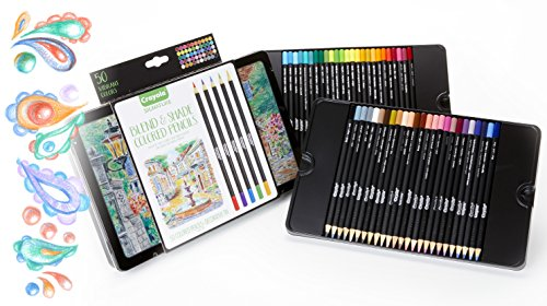 Crayola Blend & Shade Colored Pencils in Decorative Tin, Soft Core, Adult Coloring, 50 Count, Stocking Stuffer, Gift ()
