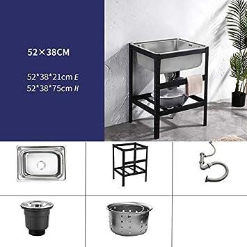 HomeLava Fregadero de cocina de acero inoxidable Fregadero de utilidad 520 * 380 * 750 mm Fregadero de jardín de un solo fregadero Fregadero de cocina móvil al aire libre: Amazon.es: Bricolaje y herramientas