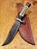 Handmade Deer Antler Handle Hunting Knife Damascus Blade Stag Collection With Leather Sheath Premium (A220)