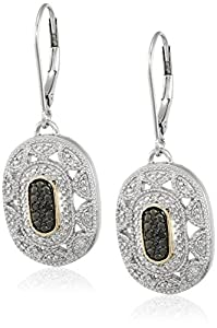 Sterling Silver and 14k Yellow Gold Black and White Diamond Art Deco Leverback Earrings