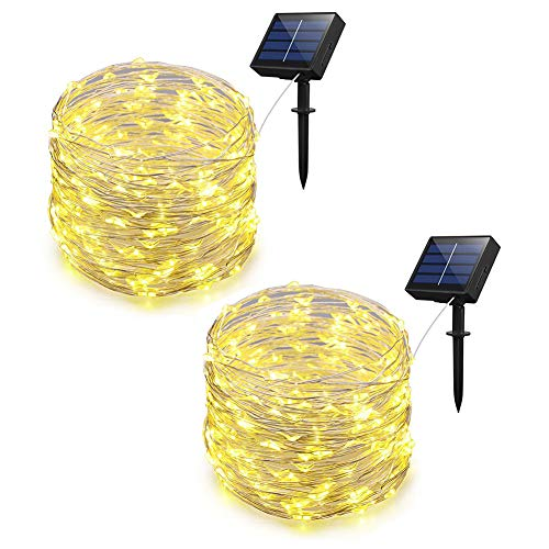 Adecorty Solar Powered String Lights, Outdoor String Lights 2 Pack 200 LED 66ft 8 Modes Starry String Lights Indoor/Outdoor Waterproof Solar Decoration Lights for Garden Home Party Decor (Warm White)
