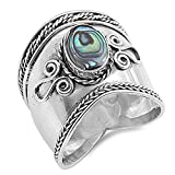 Simulated Abalone Wide Bali Ring New .925 Sterling Silver Rope Design Band Sizes 5-12