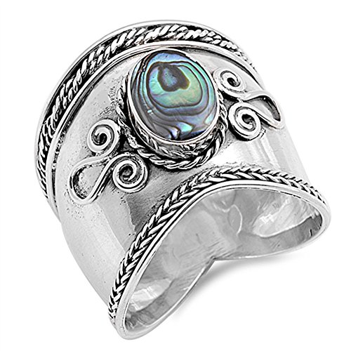 Simulated Abalone Wide Bali Ring New .925 Sterling Silver Rope Design Band Size 11 by Sac Silver