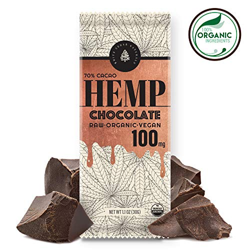 Organic Raw Hemp Extract Chocolate - 100MG - Helps Relieve Pain, Stress & Anxiety - Made with Full Spectrum USA Grown Hemp Oil Extract, Rich in Omega 3-6-9 & Vitamin E, Non-GMO, GF, Kosher. 1-Pack