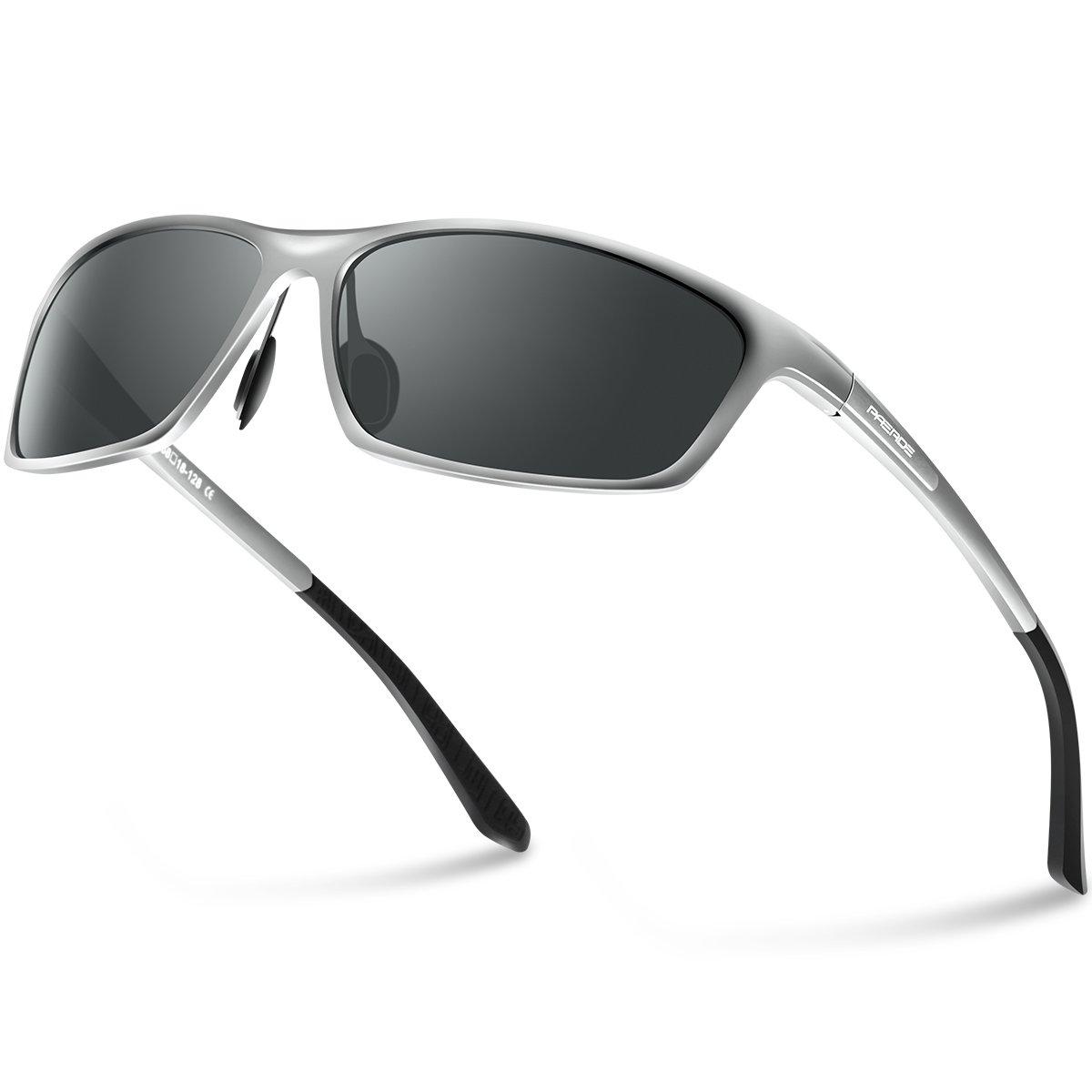 PAERDE Polarized Wayfarer Sunglasses For Men Women Retro UV400 Brand Designer Sun glasses Metal Frame PA07(Silver)…