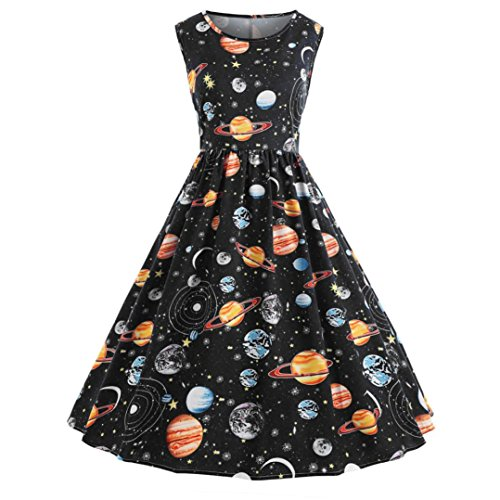 Owill Women Vintage Printing Starry Sky Planet Space Dress (Black, M) from Owill