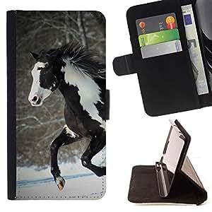 - BROWN WINTER HORSE FREE WHITE INDIAN COLORFUL - - Prima caja de la PU billetera de cuero con ranuras para tarjetas, efectivo desmontable correa para l Funny HouseFOR Apple Iphone 6