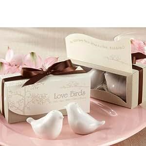 10 Pairs Newest Ceramic Love Bird Salt & Pepper Shaker Box Wedding Gift - White