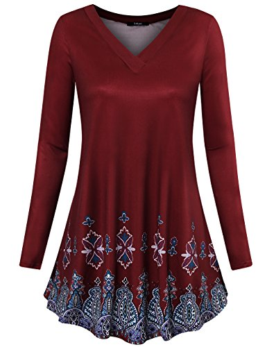 Laksmi Womens Long Sleeve Tunic Floral Print Flowy A Line Loose Casual Shirt Tops