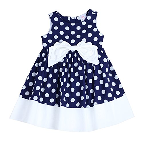 - THE SILLY SISSY Toddlers and Girls Bow-TERFLY Dress | Paige Parson's Polka Dot's in Navy 3T