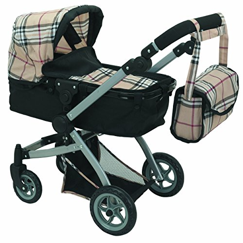 Babyboo Deluxe Doll Pram Color Beige Plaid with