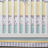 BreathableBaby Crib Skirt- Aqua Mist/Gray Stripe