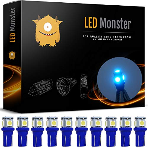 - LED Monster 10-Pack Ice Blue 5-SMD LED Bulbs for License Plate Lights Car Interior Dome Map Door Courtesy Extremely Bright Compact Wedge T10 168 194 2826