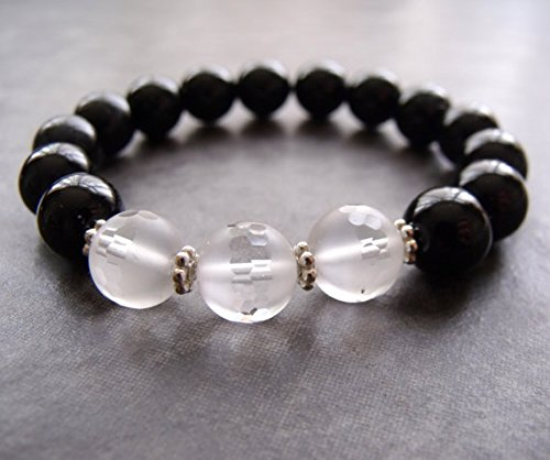 JP_Beads Black Agate and Frosted Faceted White Quartz Hill Tribe Silver Chunky Stretch Bracelet 10 - Black Stretch Faceted Bracelet