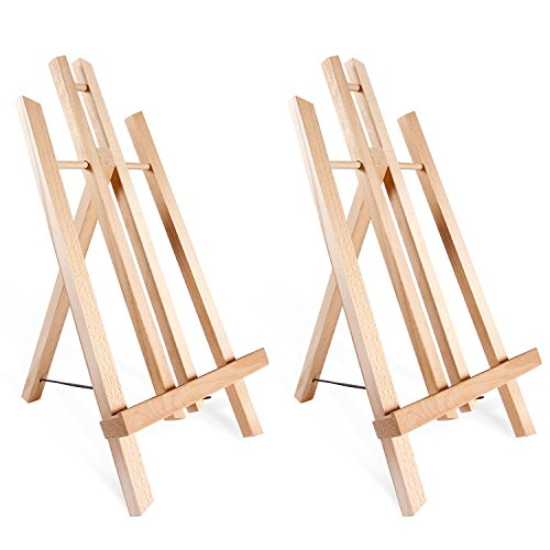 """Tabletop Art Easel Set, Ohuhu 14"""" Tall Display Stand A-Frame Mini Wood Painting Easels for Kids Artist Adults Students Classroom Table top Display, 2-Pack, Back to School Art Supplies"""