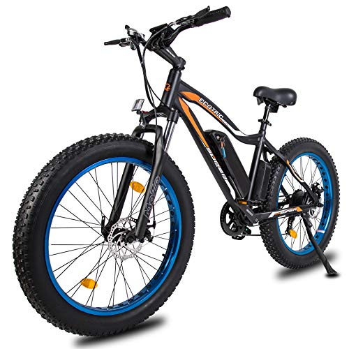 ECOTRIC Fat Tire Powerful Electric Bike Beach Snow Mountain Blue Bicycle Suspension Front Fork 26