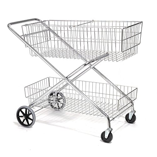 (Wire Utility Basket Mail Cart 200 Lb. Capacity, 44