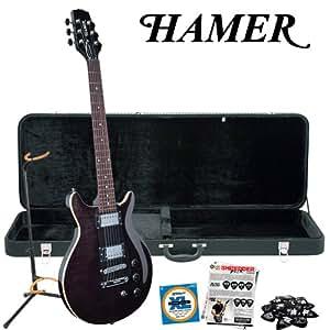 hamer satf tbk trans black electric guitar with pick sampler strings stand hard. Black Bedroom Furniture Sets. Home Design Ideas