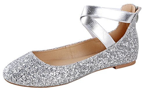 Silver Flat Shoes - ANNA Dana-20 Women's Classic Ballerina Flats With Elastic Crossing Straps ( B(M) US, Silver Glitter) (7.5)