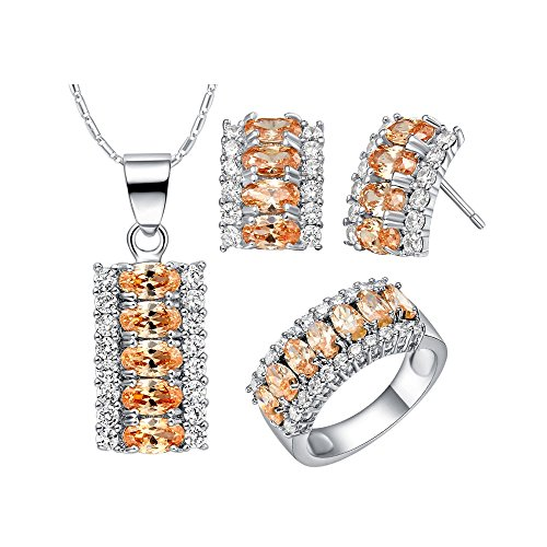 Uloveido Created Champagne Yellow Diamond Oval Cut Rectangle Crystal Cubic Zirconia Necklace/Stud Earrings/Cute Ring White Gold Plated - Unique Fashion Jewelry Set ()