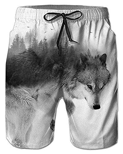 - Alistyle Men's 3D Wolf Print Elastic Waist Beachwear Quick Dry Board Shorts Swim Trunk XL