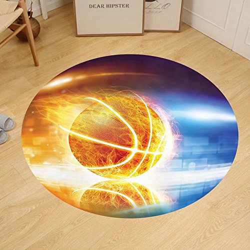 Gzhihine Custom round floor mat Sports Decor Soccer Man Kicks the Ball in the Air Digital Watercolors Success Energy Feet Bedroom Living Room Dorm Decor Multi by Gzhihine
