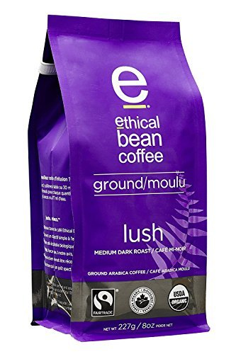 Lush Ethical Bean Coffee: Medium Dark Roast Ground Coffee - USDA Certified Organic Coffee, Fair Trade Certified - 8 Ounce Bag (227 g)